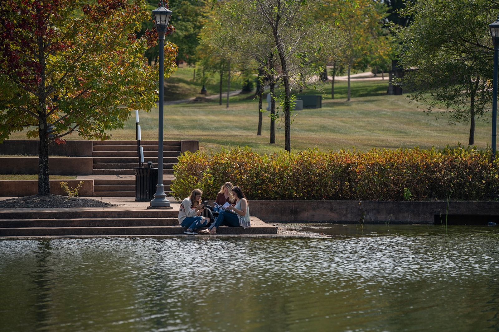 Students by lake
