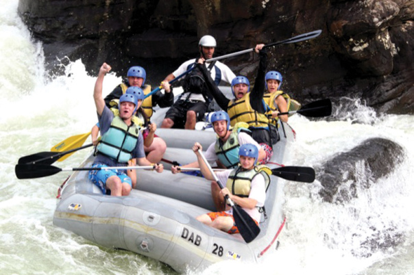 White-water rafting group