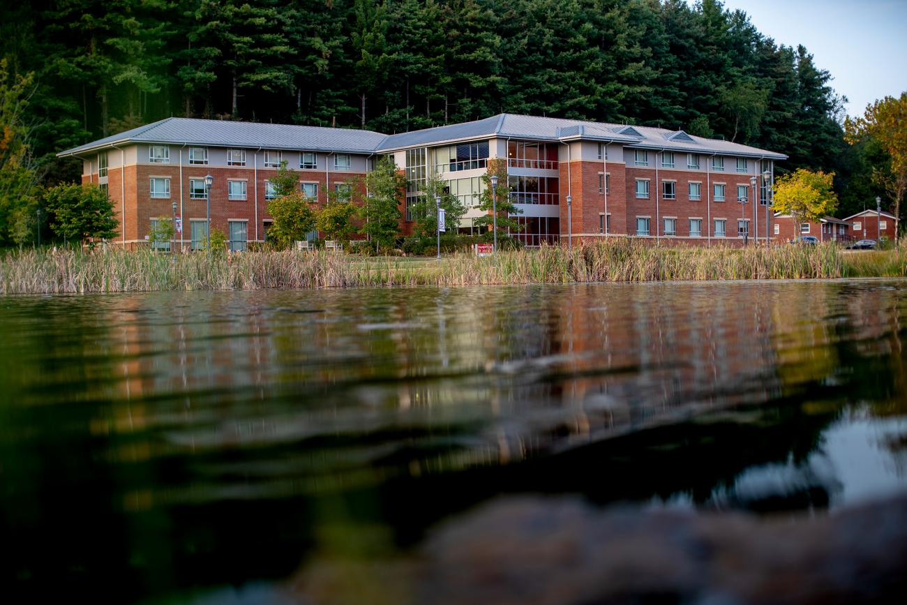 Lake and campus building