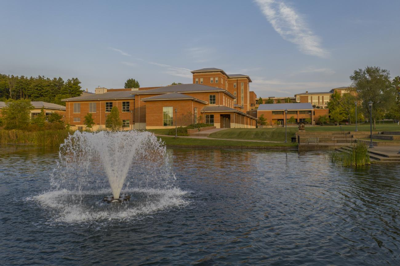 Lake with fountain view of campus