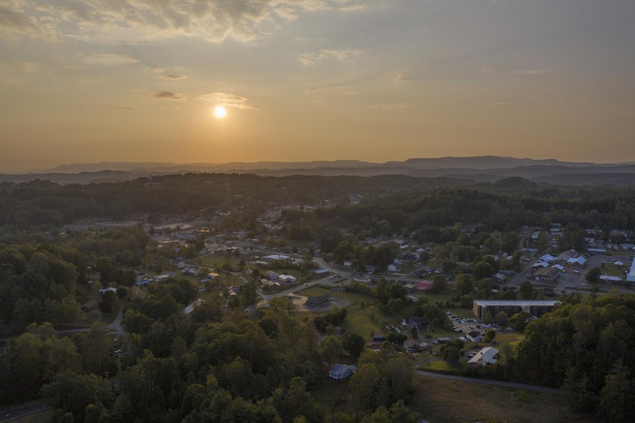 Drone shot of campus overview at sunset