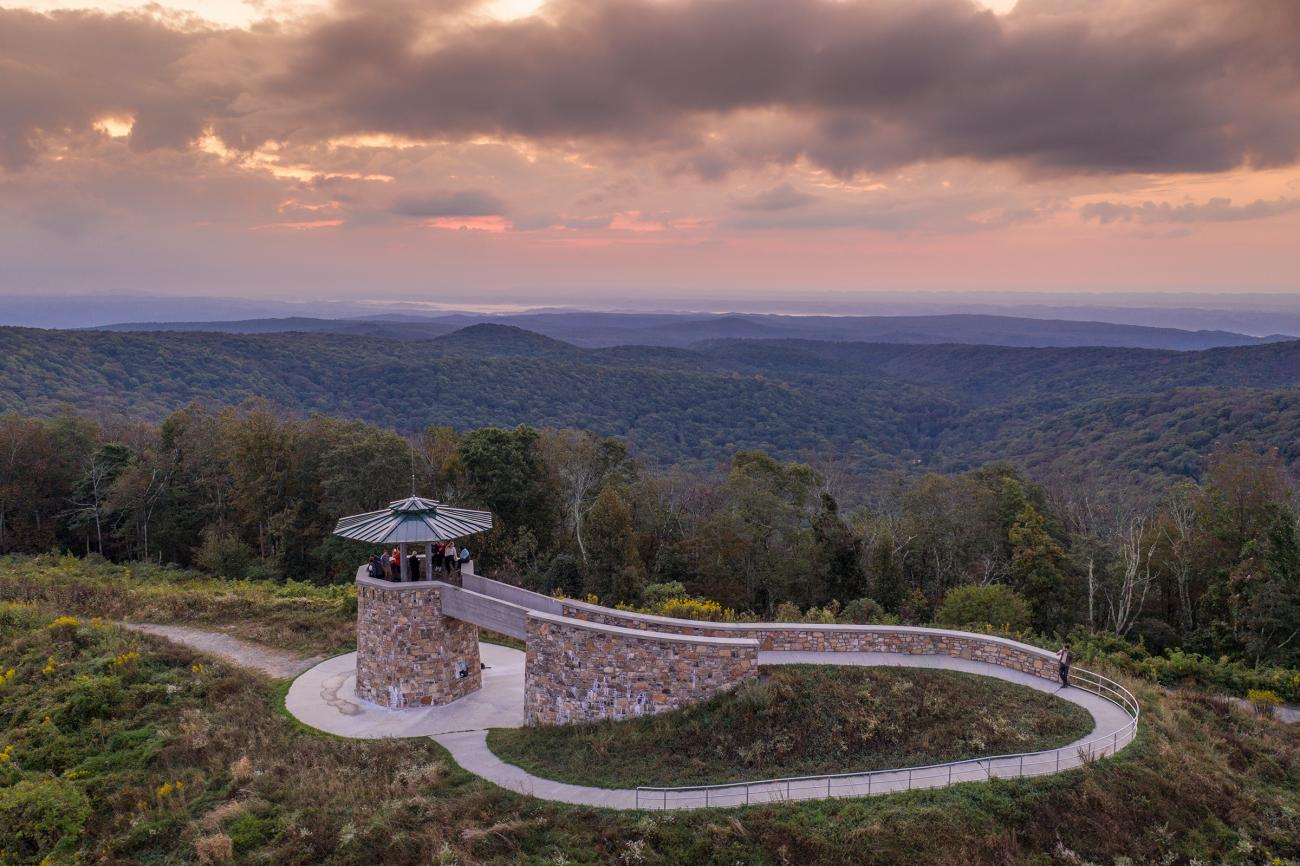 High Knob Tower at sunset